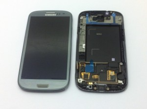 Samsung I9300 Galaxy S3 Display unit with frame in titanum grey