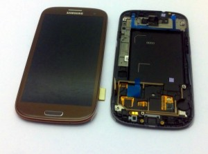 Samsung I9305 Galaxy S3 LTE Display unit with frame in brown