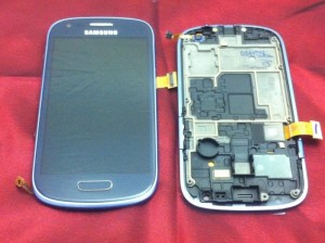 Samsung I8190 Galaxy S3 Mini Display unit with frame in blue