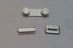 Button set (volume, mute and power button) silver for white iPhone 5S
